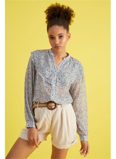 Z Giyim Kadın  Mint Yeşili  Yaka Volanlı Şifon Bluz İndigo